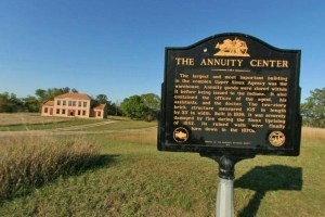 Photo of an interpretive sign that marks the location of the old Annuity Center.
