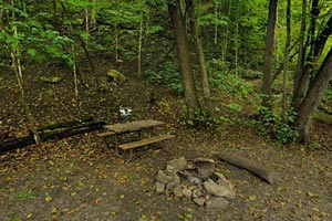 Photo of a campsite next to the river and can be accessed by a narrow, unpaved walking trail.