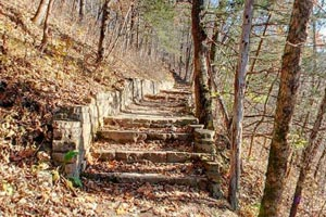 Photo of the Chimney Rock Trail which offers a hike to a beautiful limestone bluff overlook.