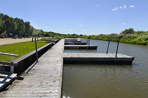 Photo of the park's marina, which is a popular destination for summer visitors because of its many  amenities.