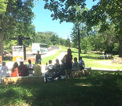 Photo of the interpretive and picnic areas within the St. Croix Boom Site State Boater Wayside. Credit: Jonathan Moore, National Park Service.
