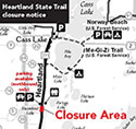 Thumbnail of temporary Heartland State Trail closure map