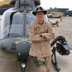 Photo of helicopter pilot Chief Warrant Officer Matthew Lourey, 41, who flew Kiowa Warrior helicopters with the Army's 82nd Airborne Division.