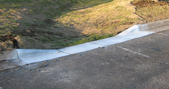 Curb cut inlet image provided by the Dakota County Storm Water Conservation District.