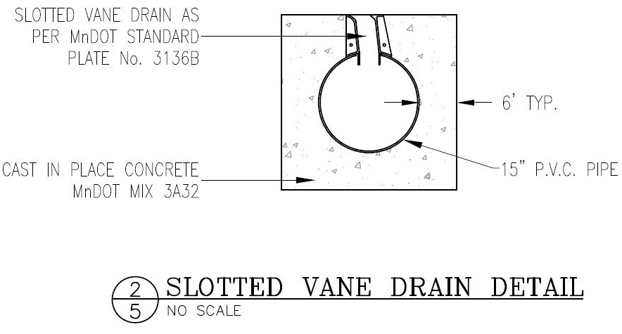 A slotted vane drain detail.