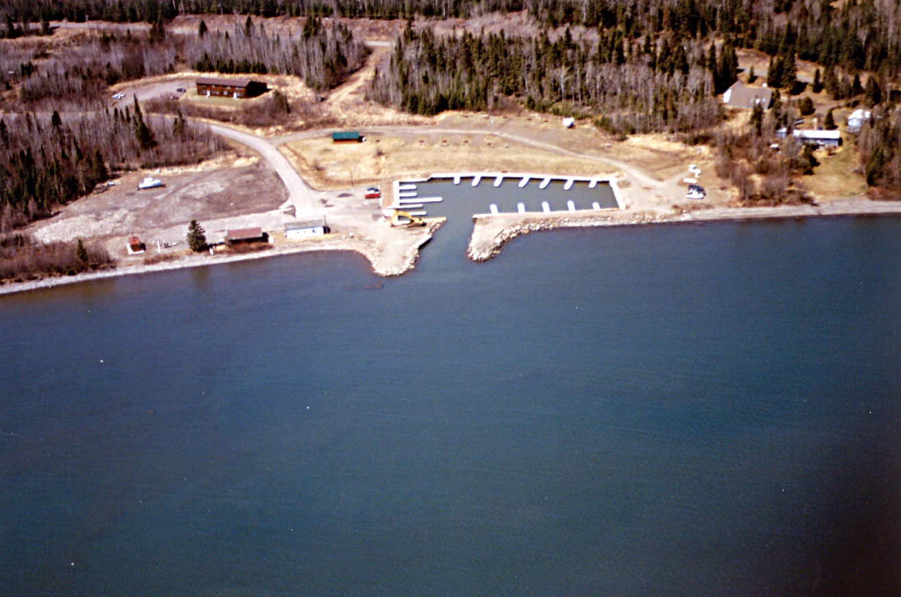 A view by air of public water access site developed by the Minnesota Department of Natural Resources, in cooperation with the Grand Portage Band of Chippewa.