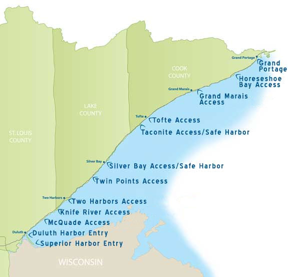 Lake Superior small craft harbors & protected accesses map
