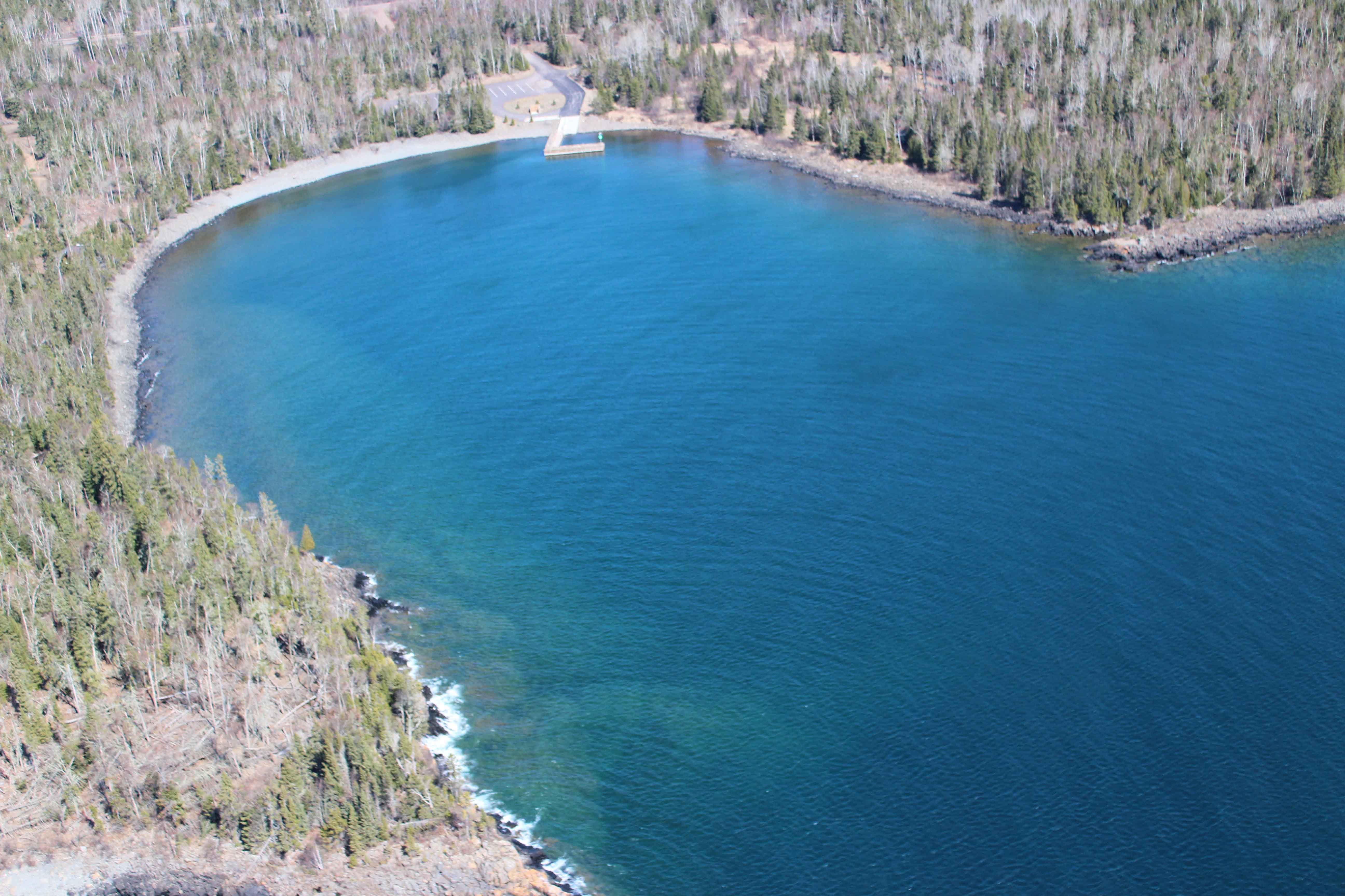 A view by air of Horseshoe Bay public water access on the shore of Lake Superior.