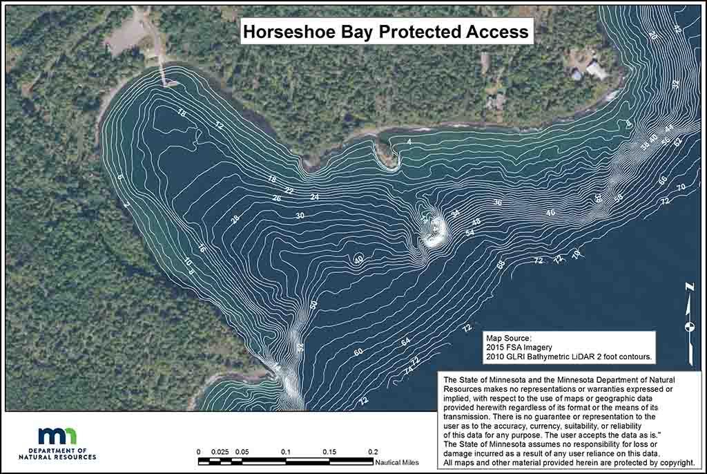Horseshoe Bay water depth map.