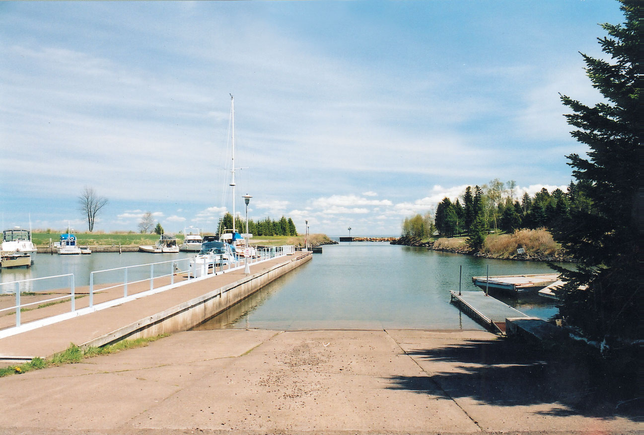 This image sshows the entrance of the Knife River Harbor and Marina facility.