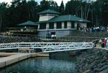Silver Bay Marina office with harbor facilities for boaters and dock slips.