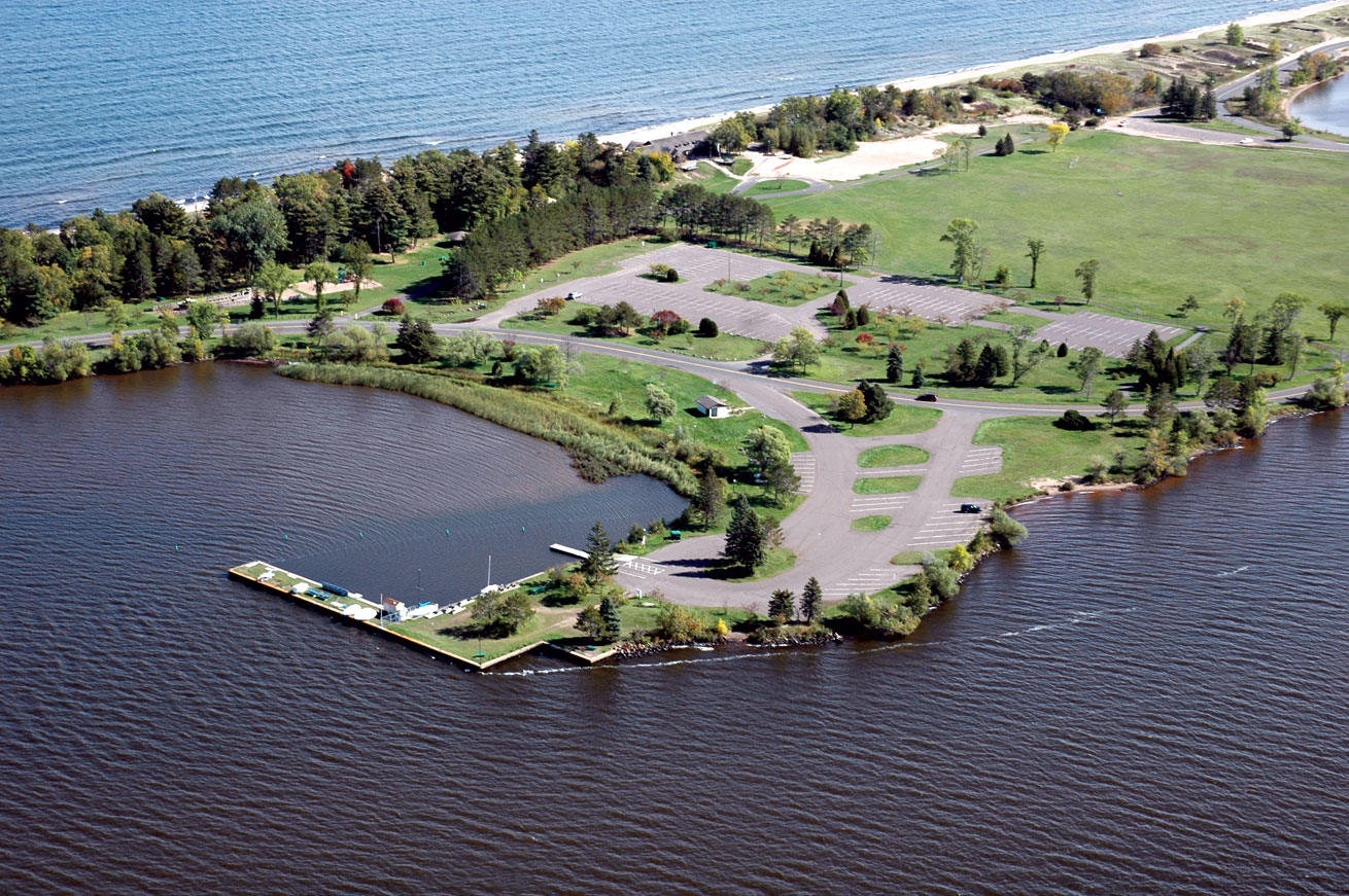 A view by air of Park Point water access site developed by the Minnesota Department of Natural Resources, in cooperation with the city of Duluth.