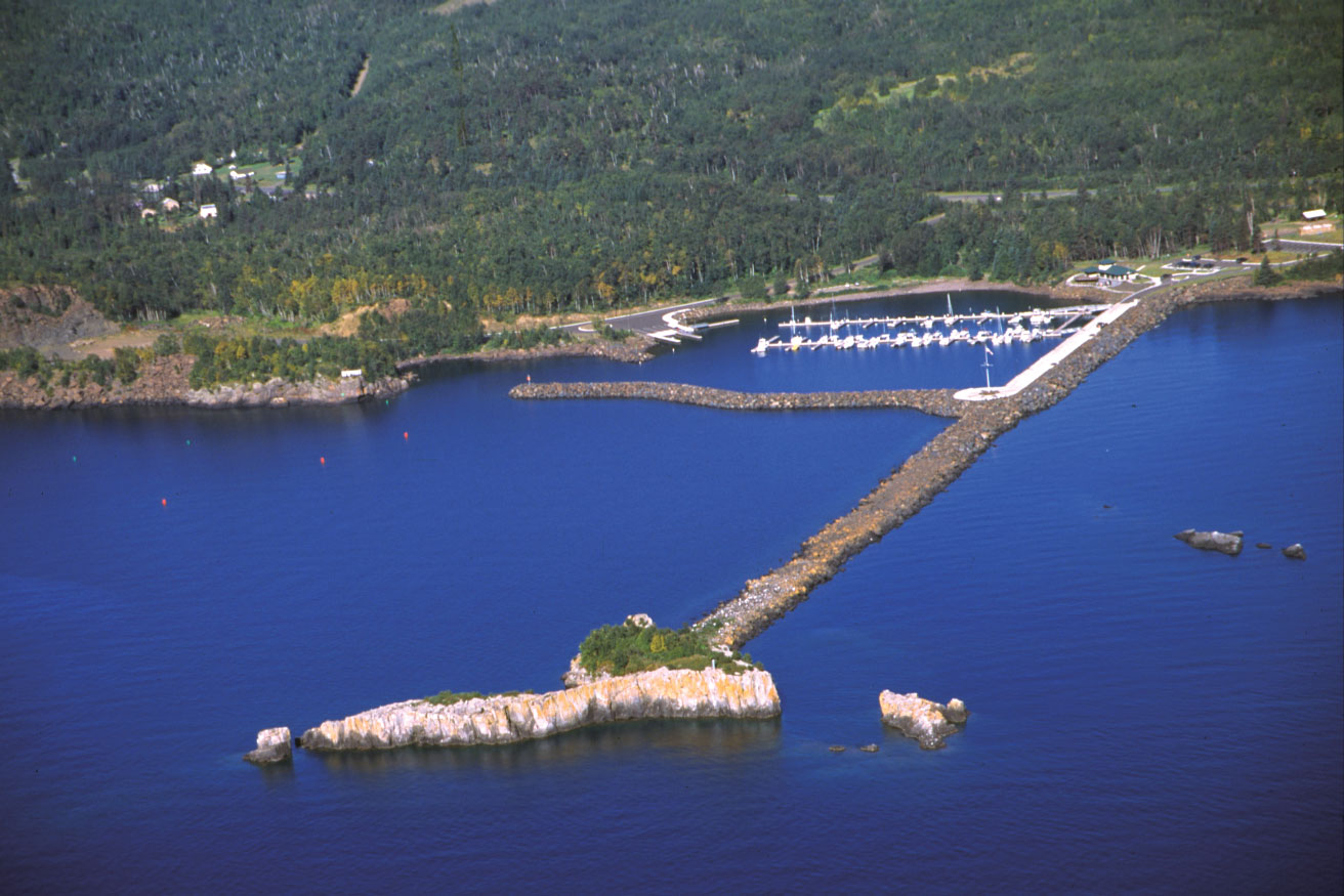 A view by air of Silver Bay Marina and Small Craft Safe Harbor.