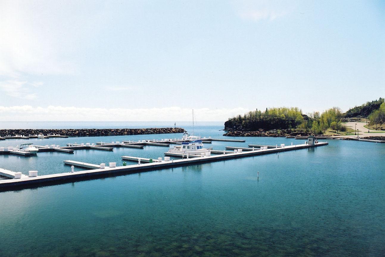 Silver Bay Marina and safe harbor, along the shore of Lake Superior.
