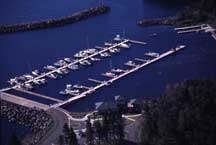 View of boat slips within the safe harbor of Silver Bay Marina.