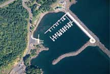 Aerial photo of the Silver Bay Marina, boat slips and breakwater that shelters the harbor.