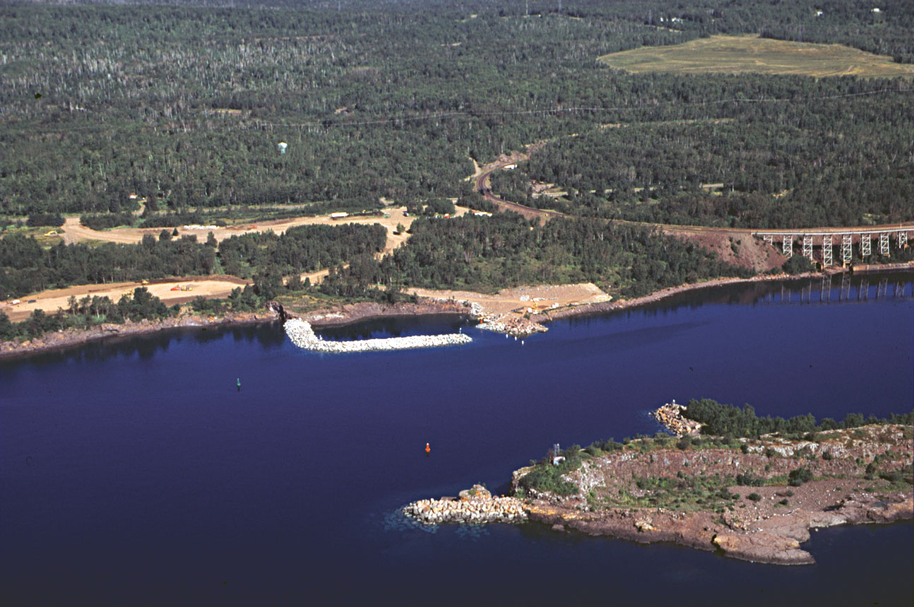 A view by air of Taconite Harbor, a safe harbor for watercraft located south of Schroeder, along Lake Superior.