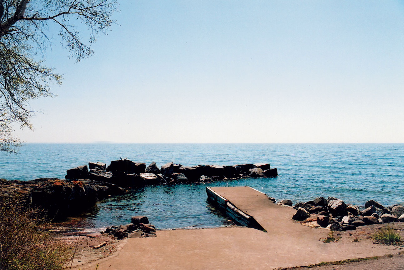 A view of docks at the Tofte public water access along the shore of Lake Superior.