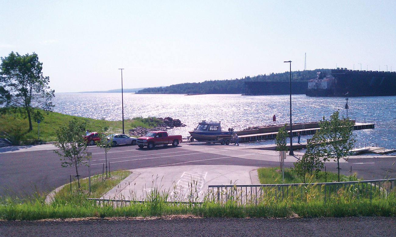 A protected public water access located in Two Harbors along the shore of Lake Superior.