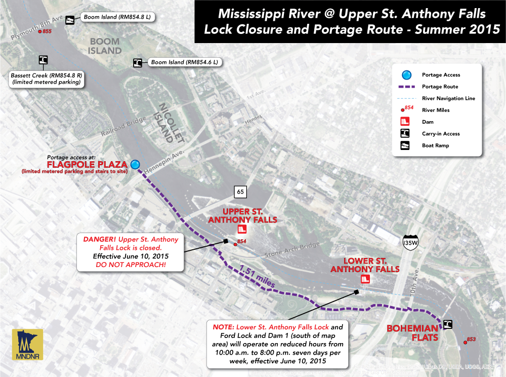 Map of the lock and dam closure at Upper St. Anthony Falls