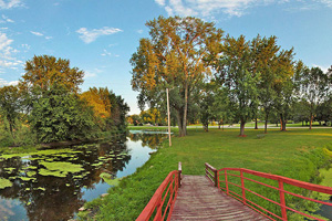 Photo of Centennial Park which offers parking, picnic facilities, and a great place to access the river.