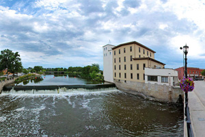 Photo of the Historic Ames Mill Dam from a river view.