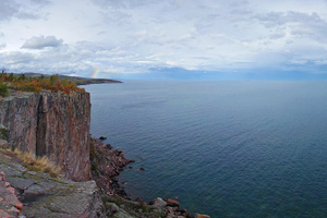 Photo of a large rock formation on the North Shore of Lake Superior called Palisade Head.
