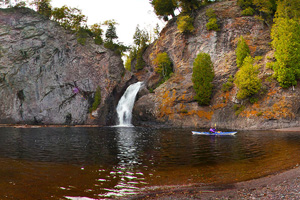 Photo of a waterfall located where the Manitou River empties into Lake Superior.