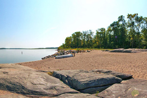 Photo of the beach along Lac qui Parle Lake, where the Lac qui Parle River flows into the Minnesota River.