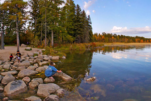 Photo of a public water access outside Itasca State Park called Gulsvig Landing.