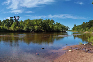 Photo of the upper St. Croix River at the Main Landing at St. Croix State Park.