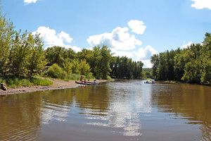 Photo of the river landing located within William O'Brien State Park.