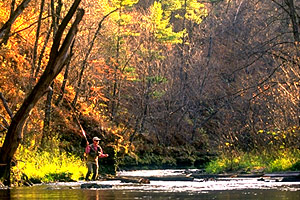 Zumbro River and angler