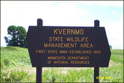 Sign for Kvernmo Wildlife Management Area, Minnesota's first.