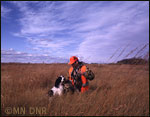 Hunter with a dog on a prairie wildlife management area.