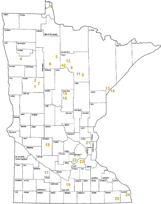 Areas in Minnesota protected through contributions to the Nongame Wildlife Program: statewide.