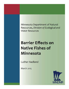Barrier Effects on Native Fishes of Minnesota cover