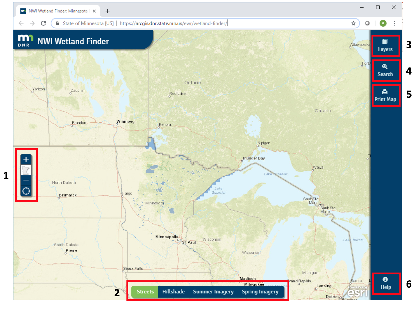 Screen capture of Wetland Finder with tools identified and numbered for map key reference