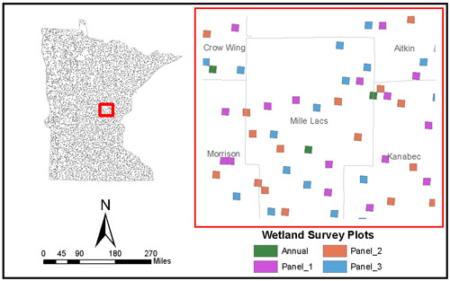 The random sample survey plots for the Wetland Status and Trends Monitoring Program are shown for a section of Minnesota.