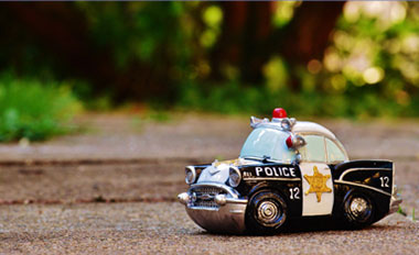 view of the childs toys of a police car