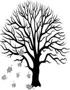 deciduous tree graphic with falling leaves