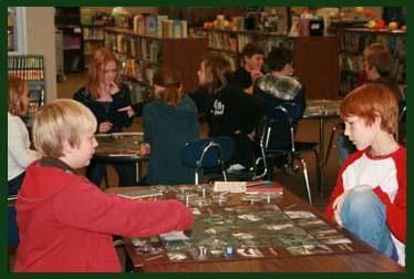 students playing habitat fragmentation game