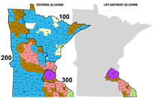 Color-coded map of harvest allowed in Minnesota deer permit areas