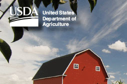 Red barn and cornfield photo with USDA logo