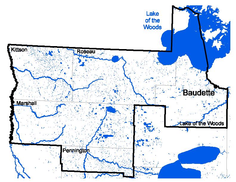 Map of Baudette work area