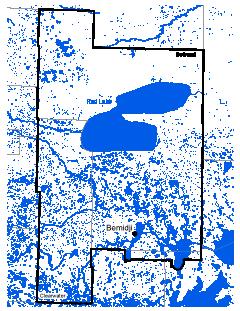 Map of Bemidji work area