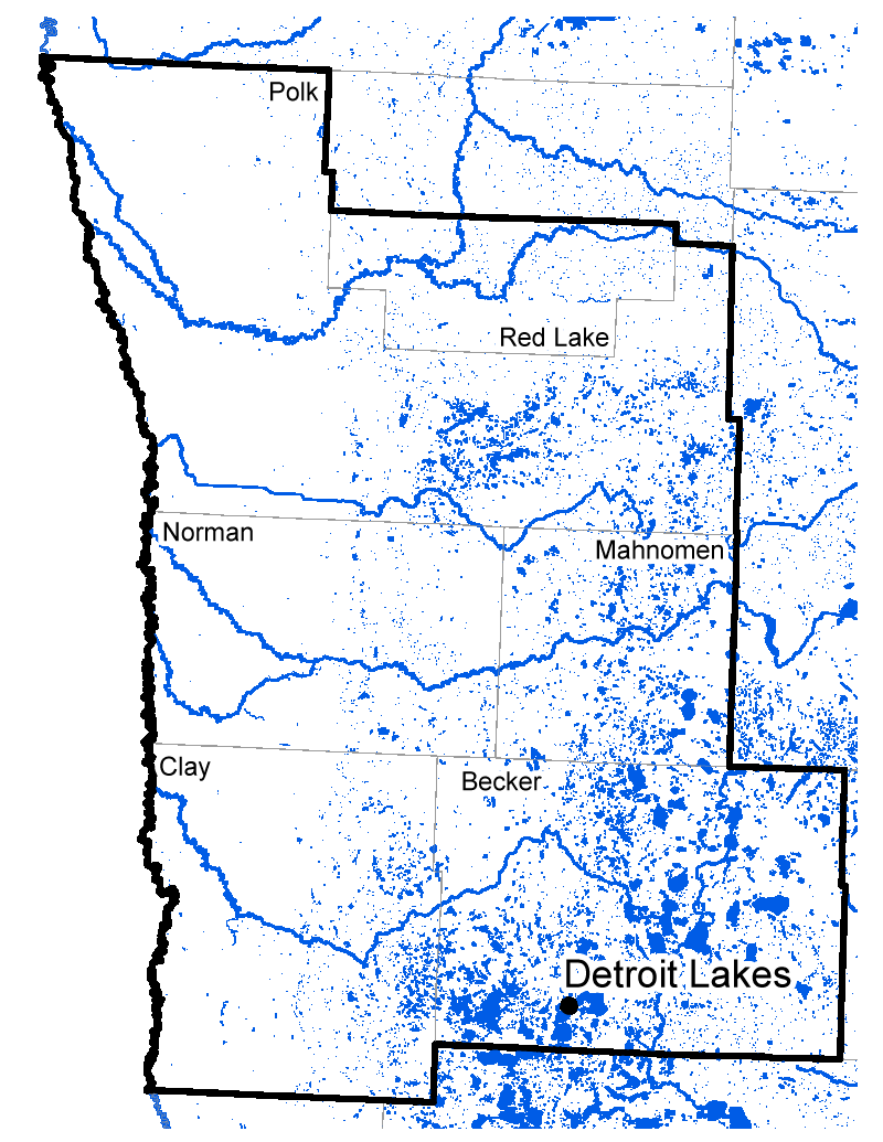 Map of Detroit Lakes work area