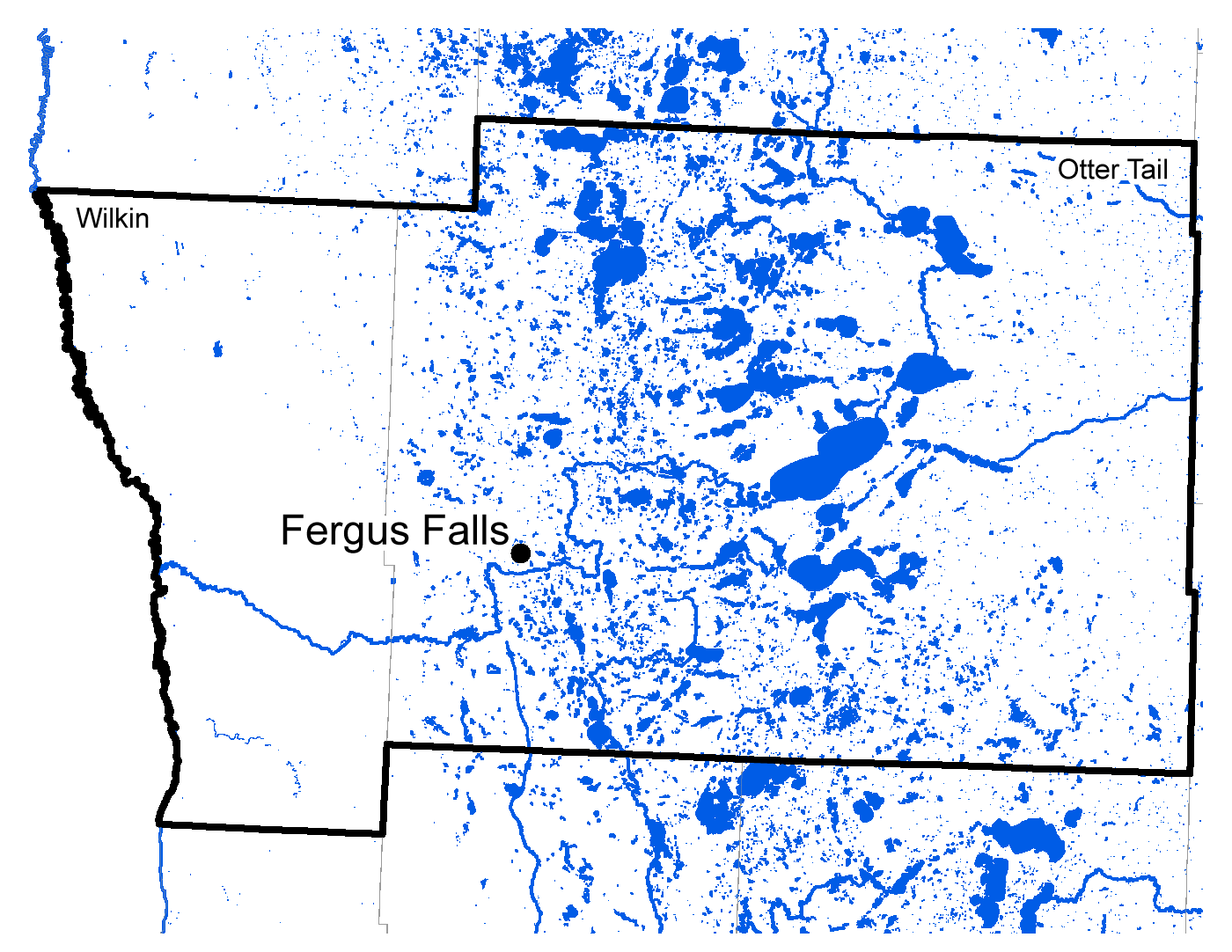 Map of Fergus Falls work area