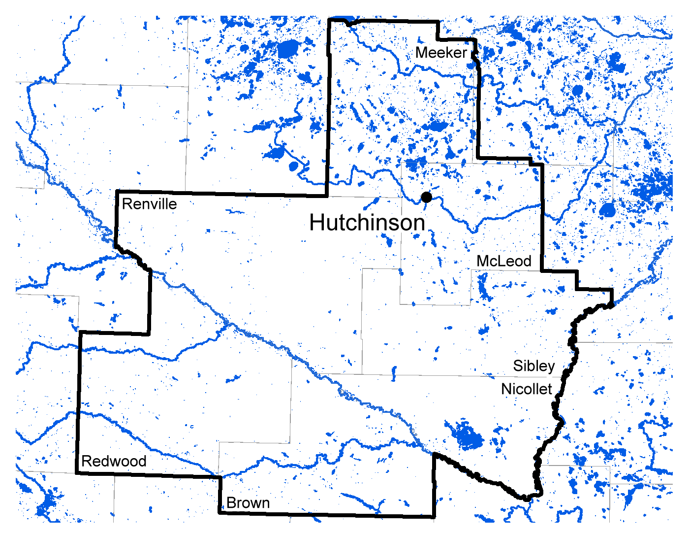 Map of Hutchinson work area