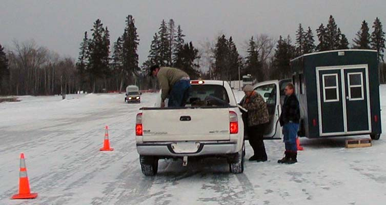 Bemidji fisheries staff conduct a winter creel survey on Upper Red Lake.  Information obtained from a creel survey is used to estimate fishing pressure, total harvest and the size composition of the harvest.  Harvest information complements the fish population data needed to properly manage fisheries.